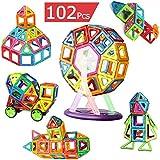 AUGYMERマグネットおもちゃ 知育玩具 子供プレゼント 磁石 おもちゃ 3d立体パズル 【磁気ブロック56個 他の車輪・観覧車・パネルパーツ52個】カラフル 磁気建設玩具 磁石付き積み木 幾何学認知 想像力と創造力を育てる 男の子 女の子 おもちゃ 入園 お祝い クリスマス プレゼント