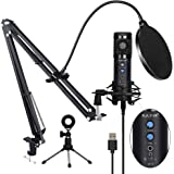 USB Condenser Microphone for Computer, Professional PC Microphone Kit with Noise Cancelling, Mute Button, Adjustable Metal Ar