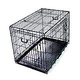 プチリュバン スリードア 折りたたみ式 ペットケージ LLサイズ ブラック トレイ付 スチール製 犬用