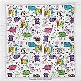 HERMES スカーフ ブラウン 59x 59インチCat Fleece Throw Blanket Trippy Kittens With Unusualフォームwith Flower and Heart Figuresベビーキッズ子アートデザインブランケットマルチ
