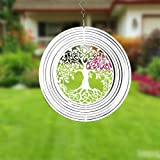 FENELY Kinetic Metal Wind Spinner for Outdoor Garden Decoration,3D Tree of Life Crafts Ornaments Metal Wind Sculptures & Spin