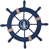 (Deep Blue) - Rienar Wooden Ship Wheel Nautical Boat Ship Wheel Wall Decor (Dark Blue)