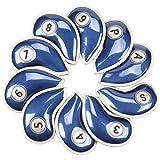 ナイキ ベルクロ Volfゴルフ10個/セットレッド/ブルーwithゴールドエッジPUレザーアイアンヘッドカバーセットヘッドカバーフィットすべてのブランドTitleist、Callaway、Ping、TaylorMade、コブラ、ナイキ、etc ブルー