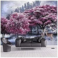 山笑の美 カスタマイズされた壁紙美しいピンクの森の木のヘラジカの風景の背景の壁画高級防水素材-310X200CM