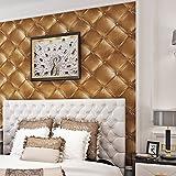 (ハンメロ)HANMEROのりなし壁紙 革張りクッションフェイク ビニールクロス ゴールド ラグジュアリー 1ロール(53cm×10m)