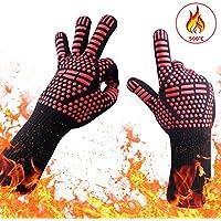 耐熱グローブ バーベキューグローブ 耐熱 手袋 最高耐熱温度500℃ 滑り止め 左右兼用 着脱簡単 5本指グローブ 調理道具 bbq 電子レンジ オーブン に最適 2枚セット