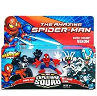 Marvel Spiderman Super Hero Squad Figure 3-Pack - Battle Against Venom (Spider-man, Venom and Anti-Venom)