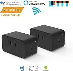 Meross WIFIスマートプラグ スマートコンセント ハブ不要 スイッチ 無線リモコン ソケット ワイヤレス Alexa/Google Home/IFTTT対応 電源制御 遠隔操作 日本語の説明書付き 黒(2個入り)