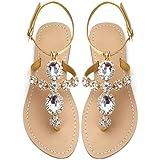 URYZE Womens Rhinestone Flat Sandals Crystal Flip Flops Jeweled Beach Sandals Boho Shoes