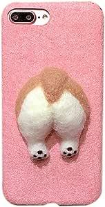 GuoDuo iPhone6s 専用 ケース カバー アイフォン6s おもしろ 超かわいい 萌えコーギーのお尻 肉球 犬保護ケース 立体的 キャラクター ソフトケース(iPhone6s, ピンク)