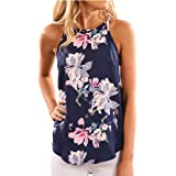 Howme-Women Casual Sleeveless Halter Tee Floral Plus Size Top Vest