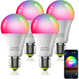 Smart Bulb No Hub Required, Dimmable Multicolor WiFi Light Bulb, A19 E27 7w (60w Equivalent) 2700k-6500k, Compatible with Ale