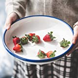 YumCute Home Enamelware Dinner Plate, 9.5 Inch Rice Pasta Tray, Enamel Deep Side Salad Serving Bowls, Solid White with Blue R