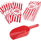 Poppy's Plastic Popcorn Scoop Bundle - 50 Bags and Plastic Popcorn Scooper, Popcorn Machine Accessories for Popcorn Bars, Mov