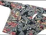 【大荒波に天空龍・黒】 義若オリジナルの鯉口シャツ単品 男女兼用 (L 大サイズ)