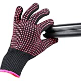Heat Resistant Glove for Hair Styling, Curling Iron, Flat Iron and Curling Wand, Pink Edge, Silicone Bump, 1 Pack