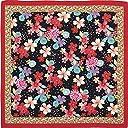 あそ美心 桜のしらべ ブラック 約105×105cm 二越ちりめん風呂敷 (ブラック, ラージ)