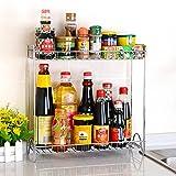 Plyax(TM) キッチンメタル調味料ラック調味料ボトルの保管は、ホルダフロアスタンドコーナーラック2層リムーバブルラック