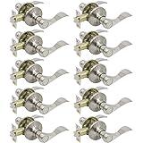Gobrico Modern Passage Door Lock Satin Nickel Keyless Round knob for Hall or Closet 10Pack
