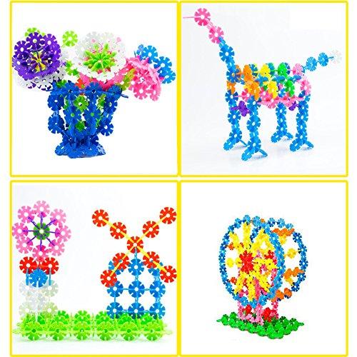 Eleoption 知育玩具 立体パズル 子供おもちゃ 雪の花びら プラスチック製 積み木セット 子供の教育知能 組み合わせパズル スノーフレーク柄 ブロックトイ 雪の形 組み合わせ カラフル 知育あそび 脳のトレーニングツール 幼児教育アプリシリーズ 知識を増すおもちゃ雑貨 お誕生日、進学お祝いプレゼント (500)