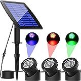 ソーラーライト 屋外 ガーデンライト イルミネーションライト ソーラー LED 水中ライト スポットライト IP68防水…