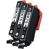 ICBK70(BK/ブラック)-3本セット【さくらんぼ】 大容量インク エプソン用 新互換インクカートリッジタイプ 最新型ICチップ対応 残量表示あり 取扱説明書付き 【三大保証1年パック対応】【Mint製】