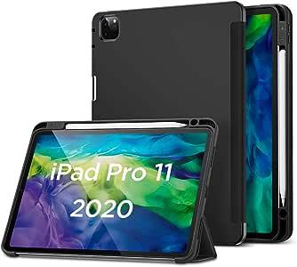 ESR iPad Pro 11 ケース 2020 Pencilホルダー付き ソフトフレキシブルTPUバックカバー付き オートスリープ/ウェイク 角度調節可能なスタンド Apple Pencil収納可 iPad Pro 11 2020年専用(ブラック)