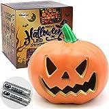 【 しっかり光る ジャックオランタン 】WhiteLeaf ハロウィン ランタン LEDライト 飾り 装飾 かぼちゃ 23cm×23cm×22cm 単三電池式 電池付属(A型)