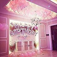 [ンポカ] 誕生日 飾り付け バルーン 女の子 バースデー パーティー 風船 飾り付けセット HAPPY BIRTHDAY ロゴ (ピンク)