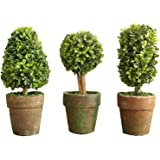 PVC Topiary In Pot SET OF 3 Styles Artificial Plant Shrub Bush Country Home Garden D?cor