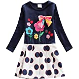JUXINSU Toddler Girl Cotton Long Sleeve Dress Flower Wave Point Casual Dresses for Baby Girls 3-8 Years LH5801
