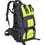 Dratumyoi 40L+10L大容量 登山バッグ 登山リュック ザック 撥水 耐久性 多機能 アドドア 旅行用バックパック リュックザック サイクリング 遠足 ハイキング (グリーン)