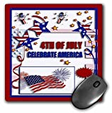 3dRose LLC 8 x 8 x 0.25 Inches 4th of July Celebrate America Flag Stars and Firecrackers Mouse Pad (mp_20170_1) [並行輸入品]