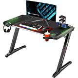 EUREKA ERGONOMIC Z2 Gaming Desk 50.6'' Z Shaped Office PC Computer Gaming Table with Retractable Cup Holder Headset Hook RGB