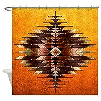 CafePress–ネイティブスタイルオレンジサンバースト–装飾ファブリックシャワーカーテン