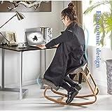 QIQIDEDIAN バランスチェア 人間工学に基づいた椅子膝間付膝間スツールホームオフィス用家具ロッキングチェアパソコンチェア木製 (Color : Gray)