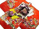 七五三 絵羽柄 正絹 7歳用 四つ身着物 式部浪漫 結び帯・箱せこセット 赤系着物 黒帯 7k-38