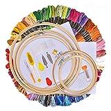 AUSHEN 刺繍セット 竹製 刺繍枠5本 刺繍糸100束 刺繍針30本 刺繍用布 18x12インチ (竹枠5本(100色))