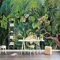 グリーンツリーフラワーバタフライ壁画、リビングルーム3Dプリント写真壁紙壁画、壁の装飾壁紙ロール280 cm(W)x 180 cm(H)