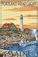 Portlandヘッドライト–ポートランド、メイン州 9 x 12 Art Print LANT-33390-9x12