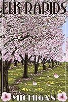Elk Rapids、ミシガン州–Cherry Blossoms 24 x 36 Signed Art Print LANT-42938-710