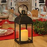 """WRalwaysLX Decorative Lanterns with Timer Candle Light Flameless Candles 9"""" H Indoor/Outdoor Lantern with Hanging use 3AAA Ba"""