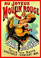 French Art Nouveau Theatre Cabaret MOULIN ROUGE JOYEUX dancing couple 23.5 x 16.5in (59.4 x 42cm) A2 Size MINI PAPER Poster by Laminated Posters