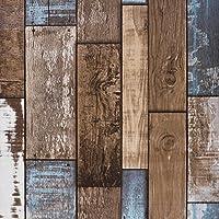 Akea木製Plank壁紙ロール、ヴィンテージ素朴な木製Look壁紙、forホームデカール、レストラン、カフェなど。サイズ20.8インチx 32.8Ft、57平方フィート