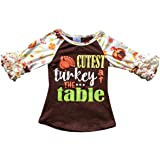 Dreamer P Little Girls Ruffle Sleeve Thanksgiving Christmas Raglan Top T-Shirt Tee Blouse