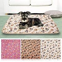 FidgetGear ペットの柔らかい暖かい足跡犬犬子犬猫豚フリース快適な毛布ベッドマット 白