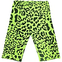 Kids Girls Cycling Shorts Leopard Print Green Summer Short Knee Length Half Pant
