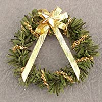 Dollhouse Miniature Christmas Wreath w/Gold Bow