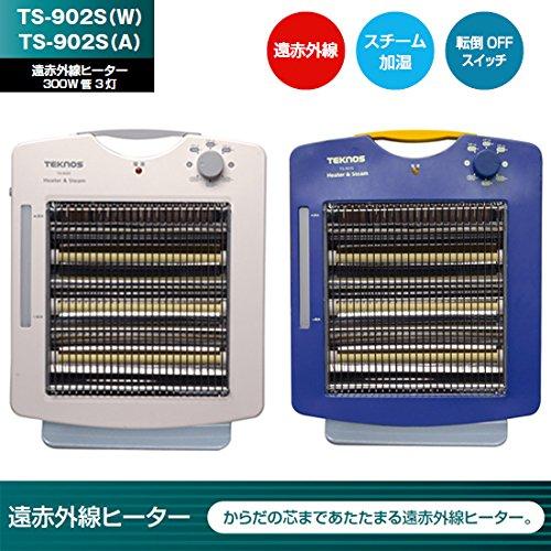 TEKNOS スチーム加湿機能付き 遠赤外線ヒーター 温度3段階調整 TS-902S(W)