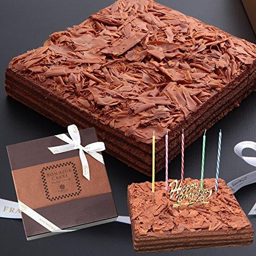 チョコレートケーキ ボヌール・カレ バースデーケーキ[凍]30年変わらぬおいしさ ココア生地とガナッシュクリームの8層サンド 誕生日ケーキ